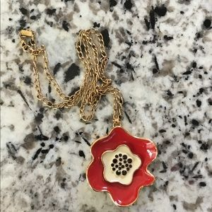Kate Spade Red Poppy Necklace with Long Gold Chain